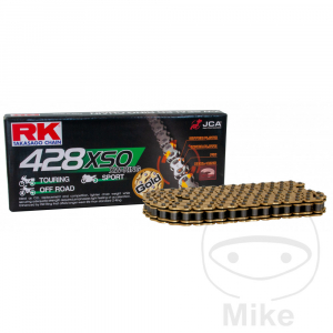 Losse motorketting 428 (1/2 x 5/16) per 2 schakels RK 428 XSO goud-zwart  (X-Ring)