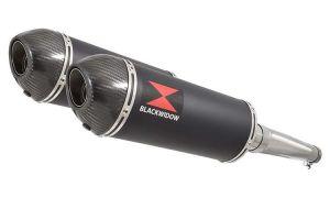 BWE Slip-On Zwart RVS Ovaal 300mm voor GSX 1400 K2 K3 K4 2002 2003 2004 met 2 u