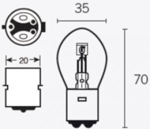 LAMP Bilux 6 volt 35/35 Watt BA20D
