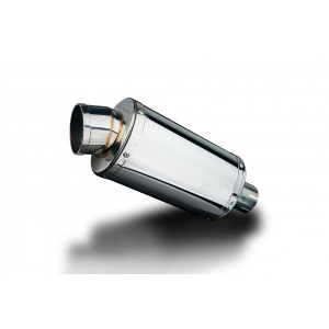 Delkevic Universele uitlaat met verwijderbare db-killer 225mm Ovaal RVS 51mm