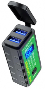 USB poort, dubbel, met voltage display